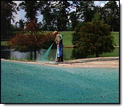 Commercial hydroseeding application at golf course